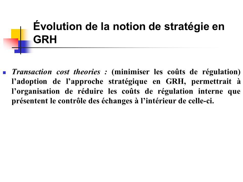 Évolution de la notion de stratégie en GRH Transaction cost theories : (minimiser les coûts de régulation) ladoption de lapproche stratégique en GRH, permettrait à lorganisation de réduire les coûts de régulation interne que présentent le contrôle des échanges à lintérieur de celle-ci.