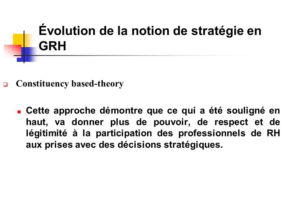 Évolution de la notion de stratégie en GRH Constituency based-theory Cette approche démontre que ce qui a été souligné en haut, va donner plus de pouvoir, de respect et de légitimité à la participation des professionnels de RH aux prises avec des décisions stratégiques.