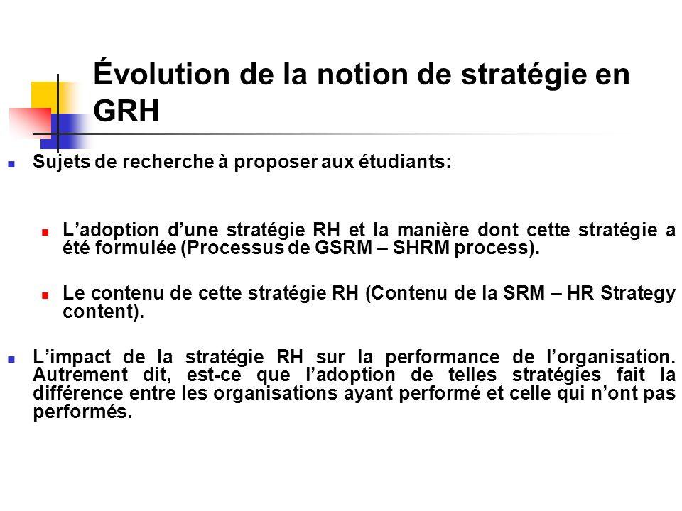 Évolution de la notion de stratégie en GRH Sujets de recherche à proposer aux étudiants: Ladoption dune stratégie RH et la manière dont cette stratégie a été formulée (Processus de GSRM – SHRM process).