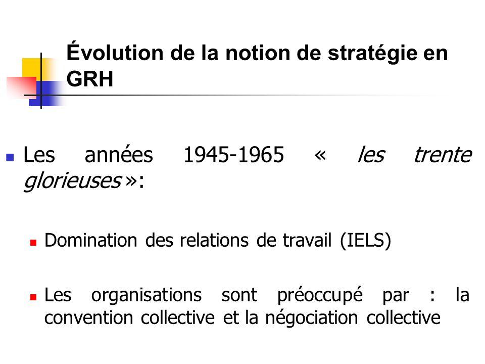 Les années 1945-1965 « les trente glorieuses »: Domination des relations de travail (IELS) Les organisations sont préoccupé par : la convention collective et la négociation collective