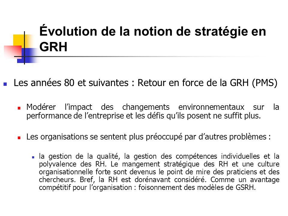 Évolution de la notion de stratégie en GRH Les années 80 et suivantes : Retour en force de la GRH (PMS) Modérer limpact des changements environnementaux sur la performance de lentreprise et les défis quils posent ne suffit plus.