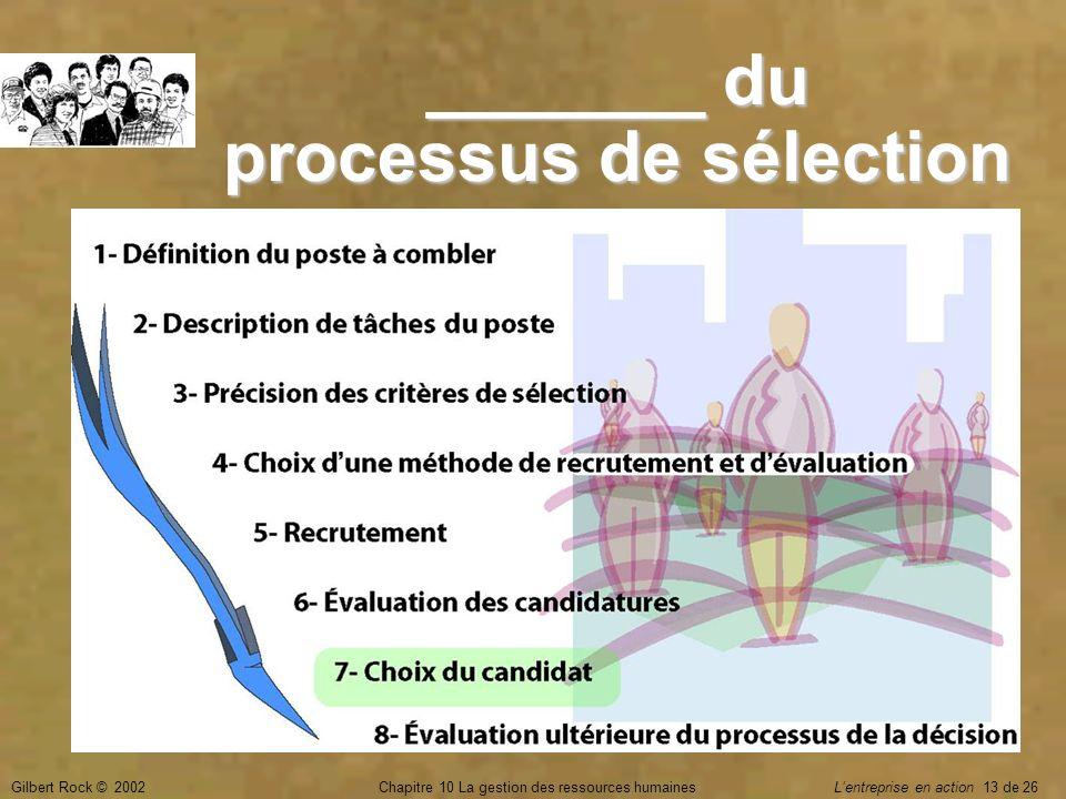 Gilbert Rock © 2002Chapitre 10 La gestion des ressources humaines Lentreprise en action 13 de 26 _______ du processus de sélection