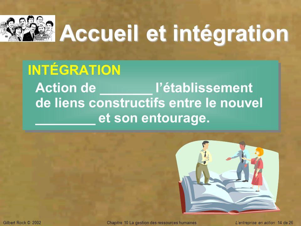 Gilbert Rock © 2002Chapitre 10 La gestion des ressources humaines Lentreprise en action 14 de 26 Accueil et intégration INTÉGRATION Action de _______
