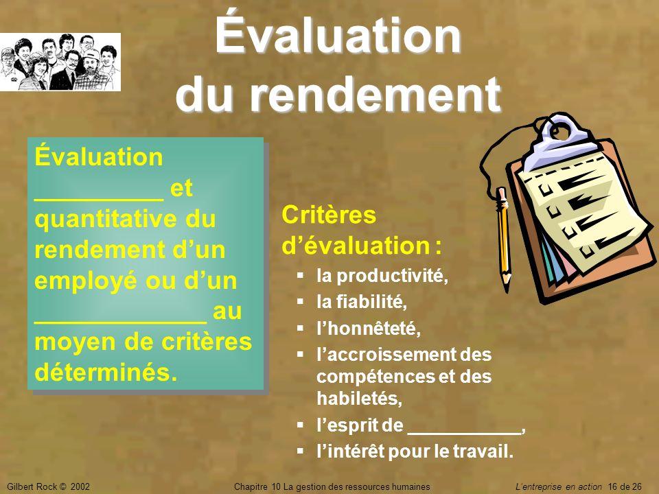 Gilbert Rock © 2002Chapitre 10 La gestion des ressources humaines Lentreprise en action 16 de 26 Évaluation du rendement Évaluation _________ et quant