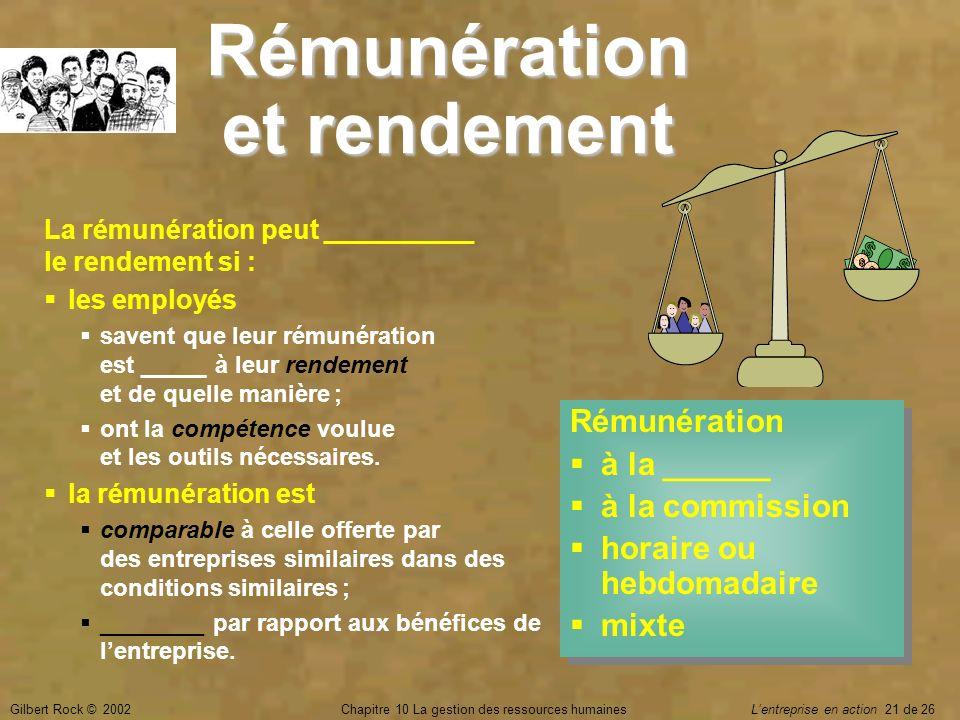 Gilbert Rock © 2002Chapitre 10 La gestion des ressources humaines Lentreprise en action 21 de 26 Rémunération et rendement La rémunération peut ______