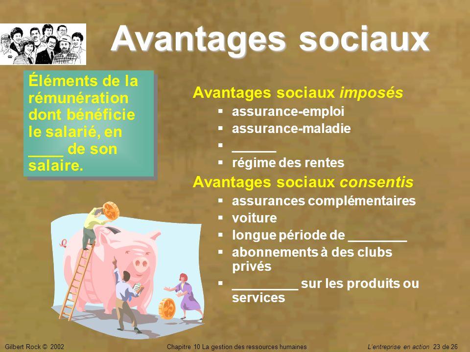 Gilbert Rock © 2002Chapitre 10 La gestion des ressources humaines Lentreprise en action 23 de 26 Avantages sociaux Éléments de la rémunération dont bé