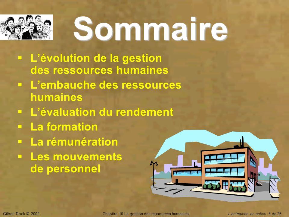 Gilbert Rock © 2002Chapitre 10 La gestion des ressources humaines Lentreprise en action 3 de 26 Sommaire Lévolution de la gestion des ressources humai