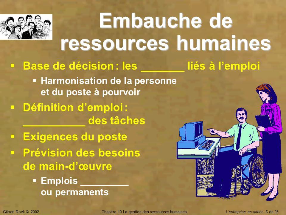 Gilbert Rock © 2002Chapitre 10 La gestion des ressources humaines Lentreprise en action 6 de 26 Embauche de ressources humaines Base de décision : les