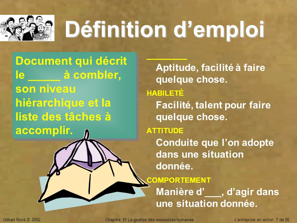 Gilbert Rock © 2002Chapitre 10 La gestion des ressources humaines Lentreprise en action 7 de 26 Document qui décrit le _____ à combler, son niveau hié