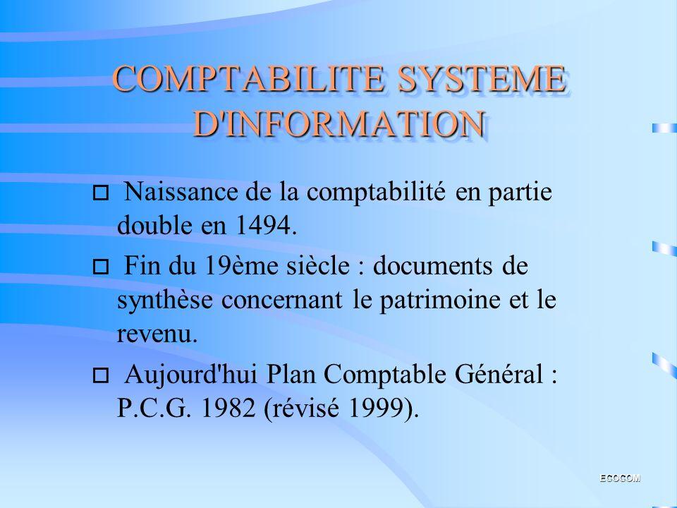 COMPTABILITE SYSTEME D INFORMATION o Naissance de la comptabilité en partie double en 1494.