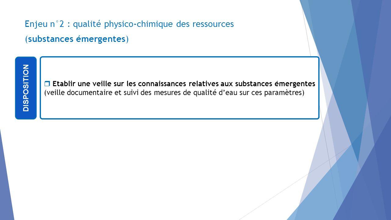 Enjeu n°2 : qualité physico-chimique des ressources (substances émergentes) DISPOSITION Etablir une veille sur les connaissances relatives aux substan
