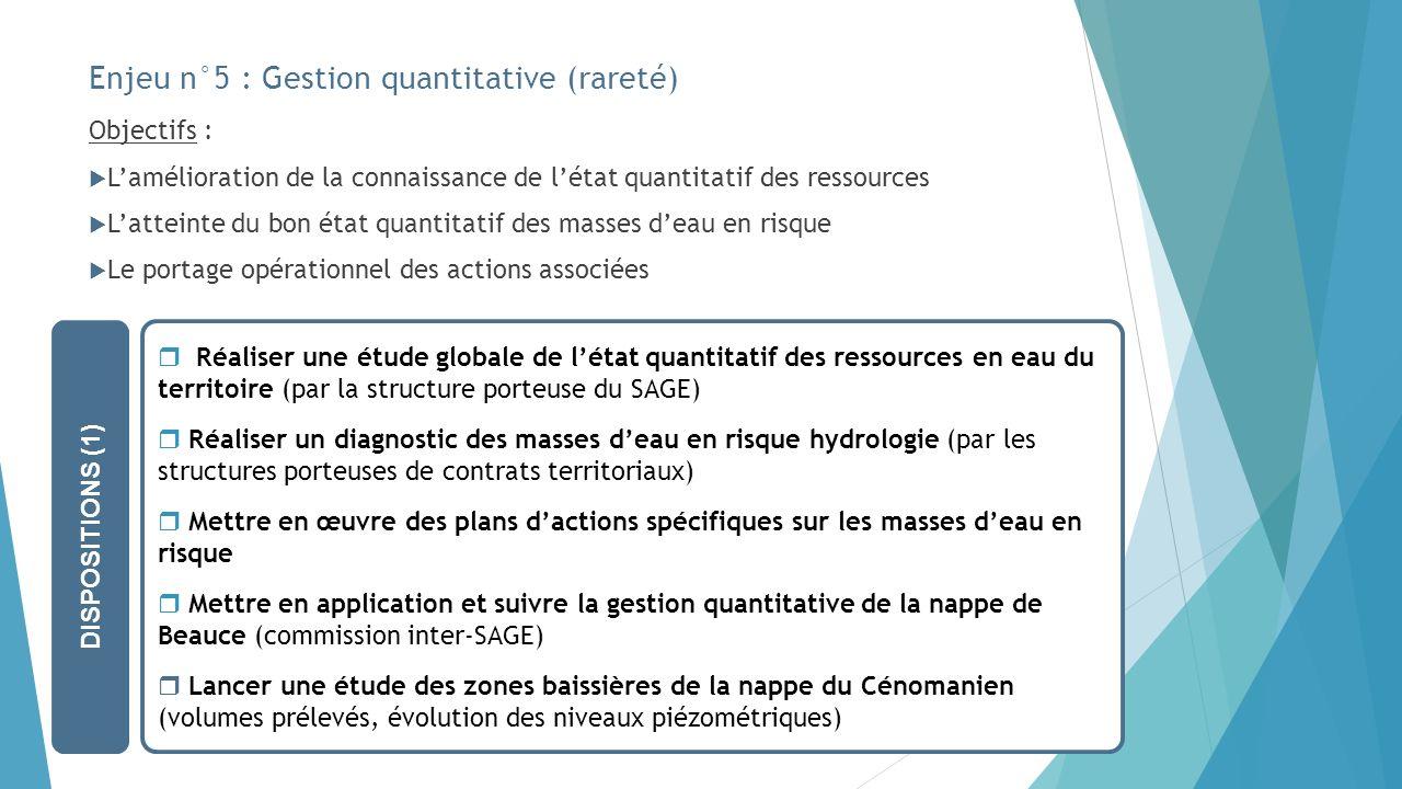 Enjeu n°5 : Gestion quantitative (rareté) Objectifs : Lamélioration de la connaissance de létat quantitatif des ressources Latteinte du bon état quant