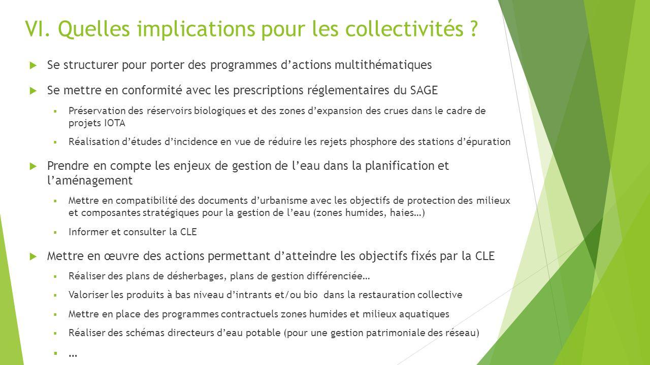VI. Quelles implications pour les collectivités ? Se structurer pour porter des programmes dactions multithématiques Se mettre en conformité avec les