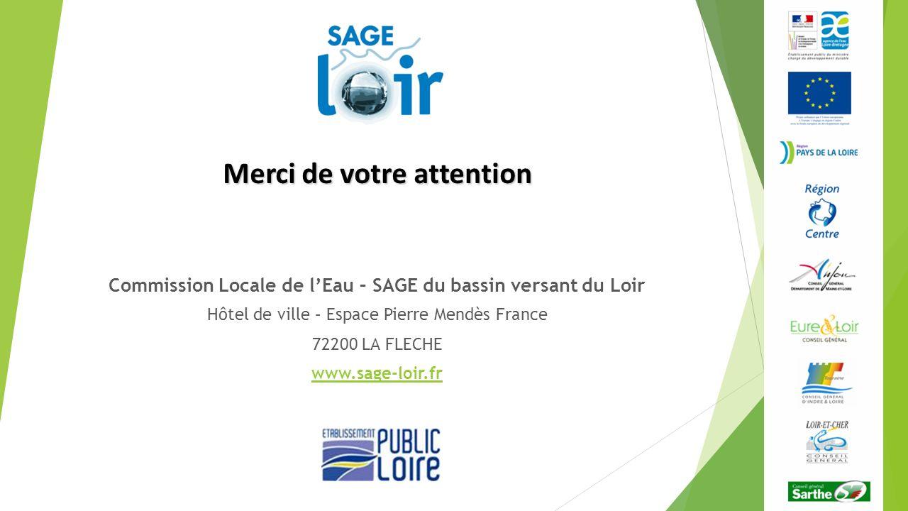 Merci de votre attention Commission Locale de lEau – SAGE du bassin versant du Loir Hôtel de ville – Espace Pierre Mendès France 72200 LA FLECHE www.s