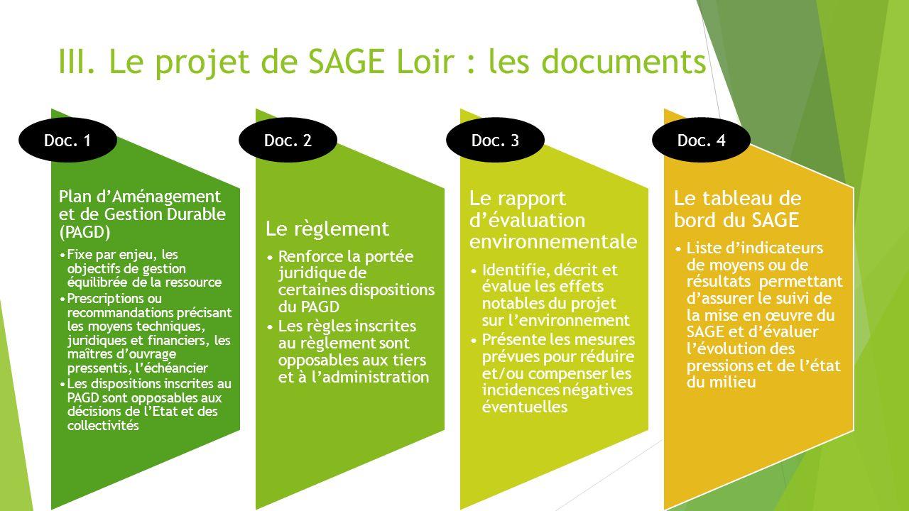 III. Le projet de SAGE Loir : les documents Plan dAménagement et de Gestion Durable (PAGD) Fixe par enjeu, les objectifs de gestion équilibrée de la r