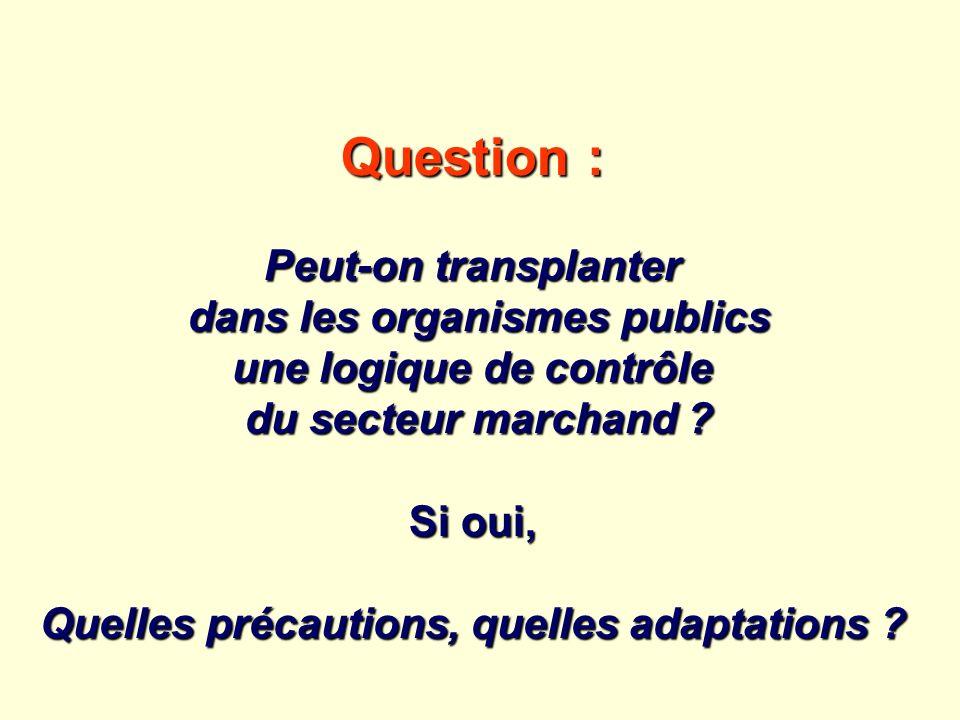 Question : Peut-on transplanter dans les organismes publics dans les organismes publics une logique de contrôle du secteur marchand ? du secteur march