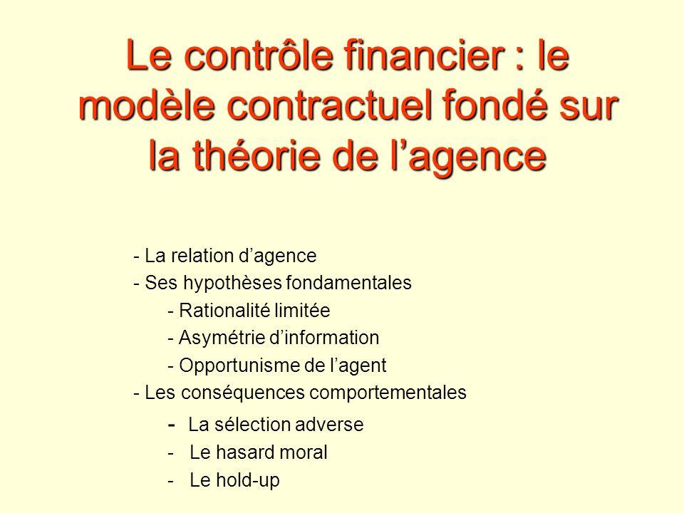 Le contrôle financier : le modèle contractuel fondé sur la théorie de lagence - La relation dagence - Ses hypothèses fondamentales - Rationalité limit