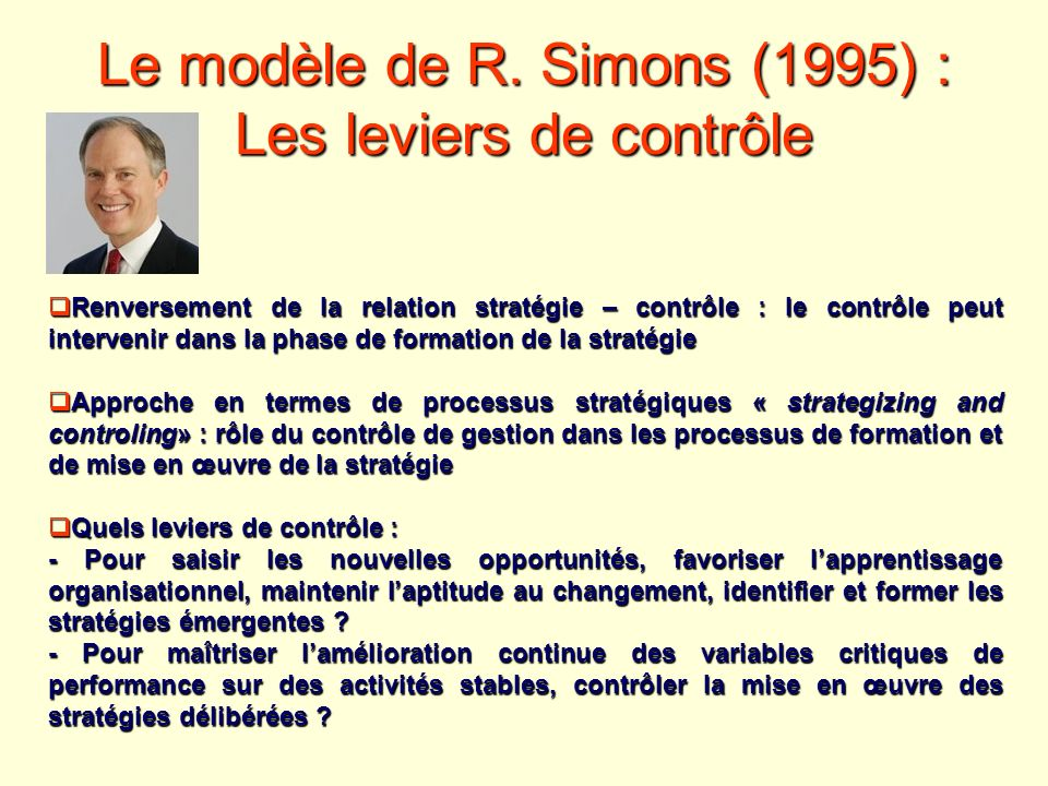 Le modèle de R. Simons (1995) : Les leviers de contrôle Renversement de la relation stratégie – contrôle : le contrôle peut intervenir dans la phase d