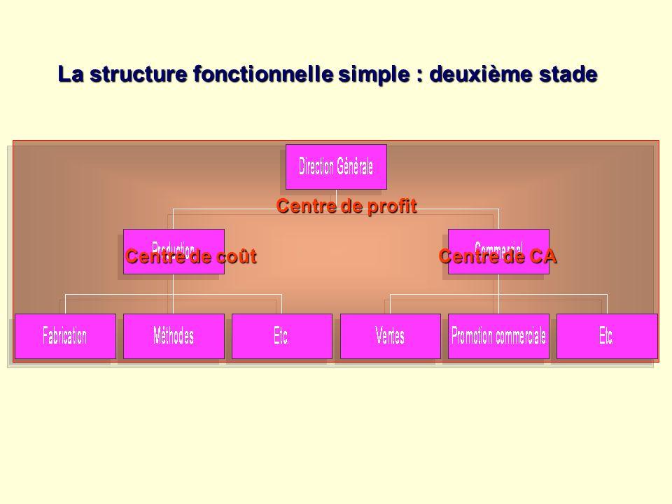 La structure fonctionnelle simple : deuxième stade Centre de profit Centre de coût Centre de CA