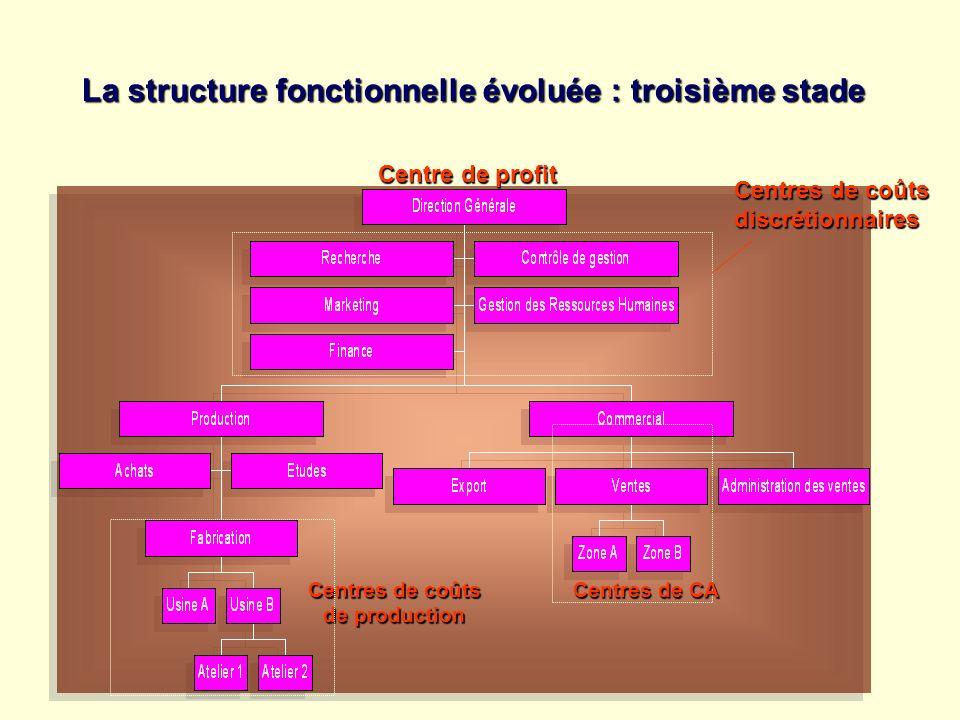 La structure fonctionnelle évoluée : troisième stade Centre de profit Centres de coûts discrétionnaires de production Centres de CA
