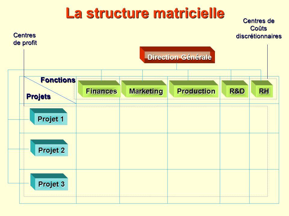La structure matricielle Fonctions Projets FinancesMarketingRHR&D Direction Générale Projet 1 Projet 2 Projet 3 Production Centres de Coûtsdiscrétionn