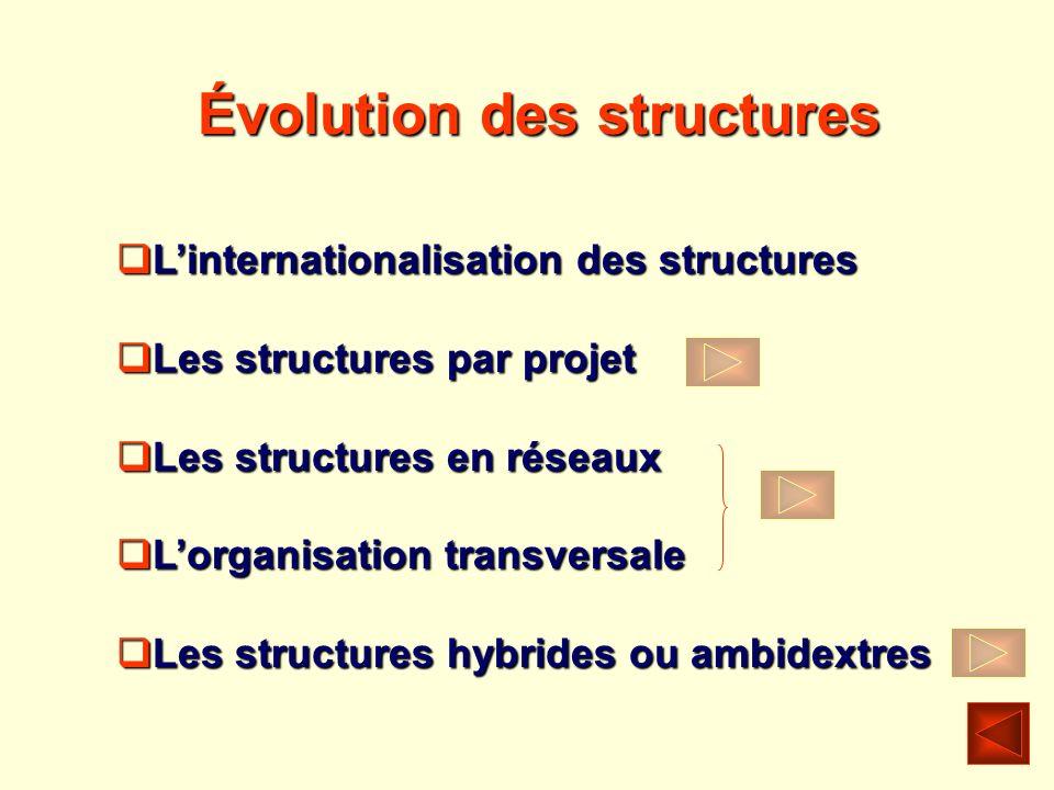 Évolution des structures Linternationalisation des structures Linternationalisation des structures Les structures par projet Les structures par projet