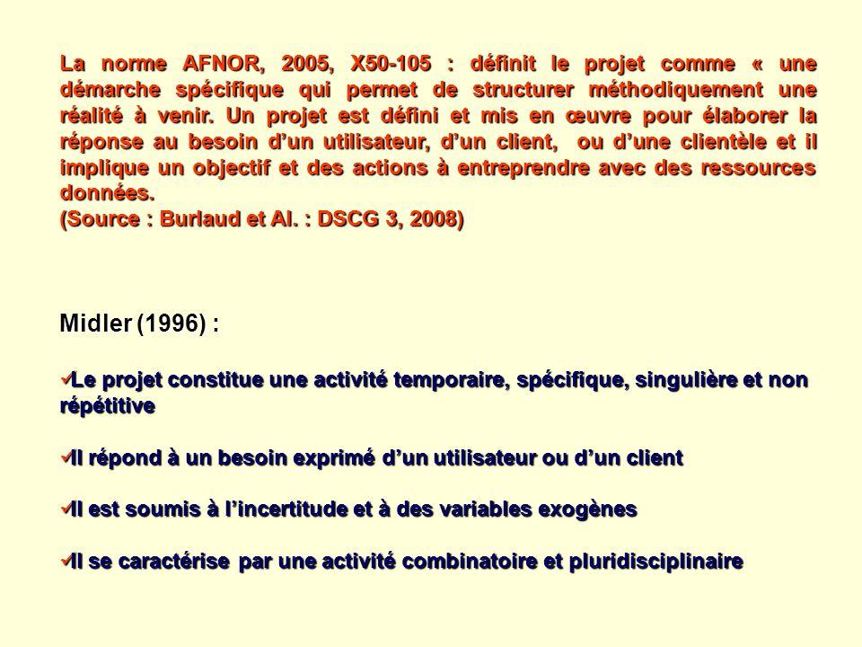 La norme AFNOR, 2005, X50-105 : définit le projet comme « une démarche spécifique qui permet de structurer méthodiquement une réalité à venir. Un proj