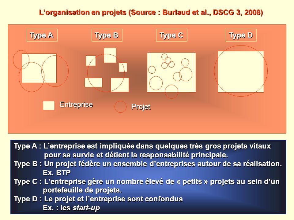 Type A Type B Type C Type D Entreprise Projet Type A : Lentreprise est impliquée dans quelques très gros projets vitaux pour sa survie et détient la r