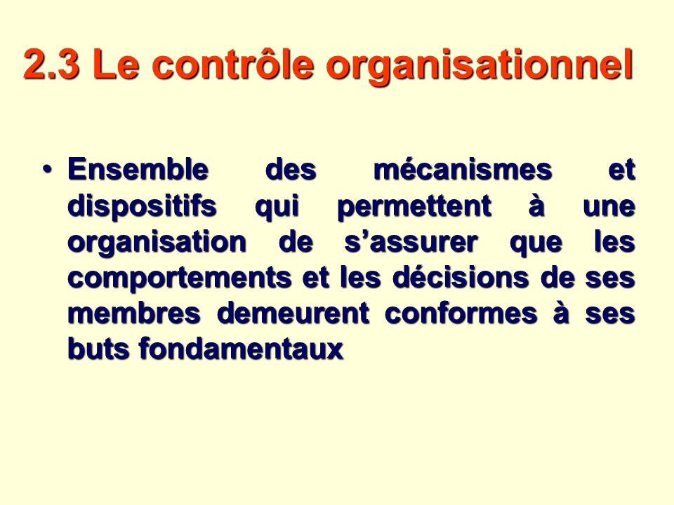 2.3 Le contrôle organisationnel Ensemble des mécanismes et dispositifs qui permettent à une organisation de sassurer que les comportements et les déci
