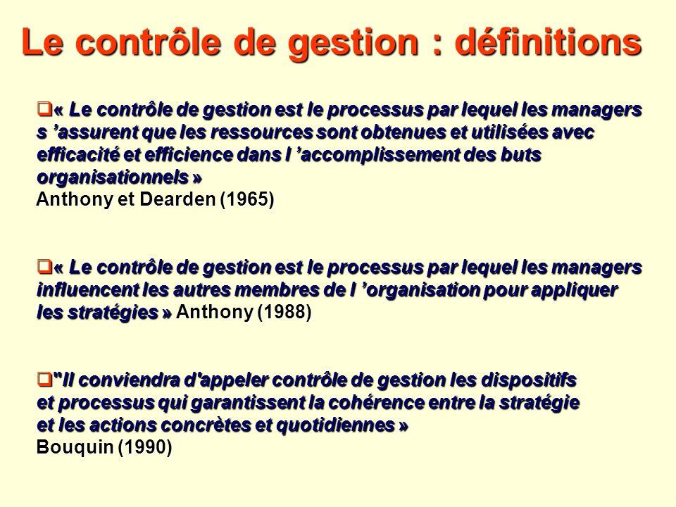 Le contrôle de gestion : définitions « Le contrôle de gestion est le processus par lequel les managers « Le contrôle de gestion est le processus par l