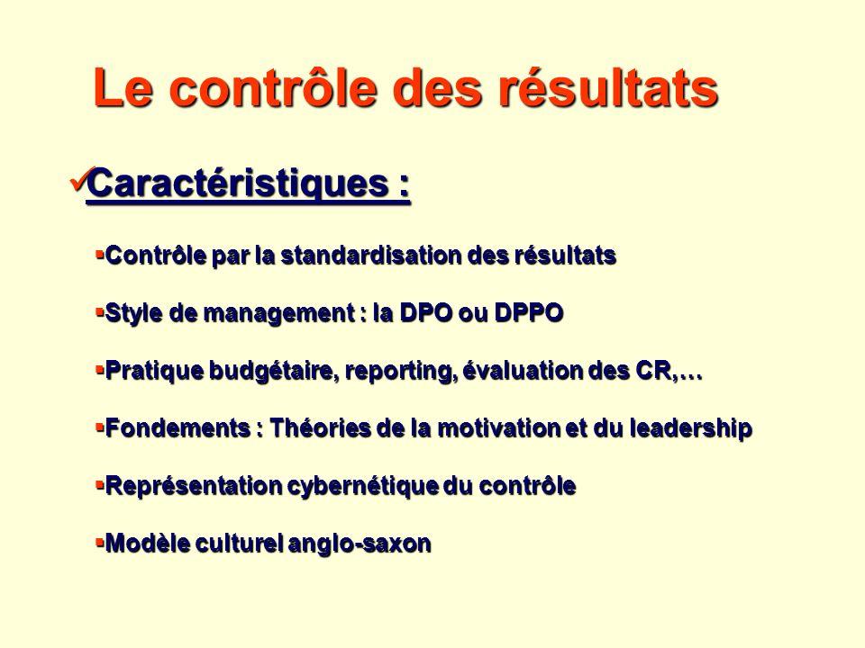 Contrôle par la standardisation des résultats Contrôle par la standardisation des résultats Style de management : la DPO ou DPPO Style de management :