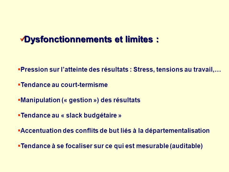 Dysfonctionnements et limites : Dysfonctionnements et limites : Pression sur latteinte des résultats : Stress, tensions au travail,… Tendance au court
