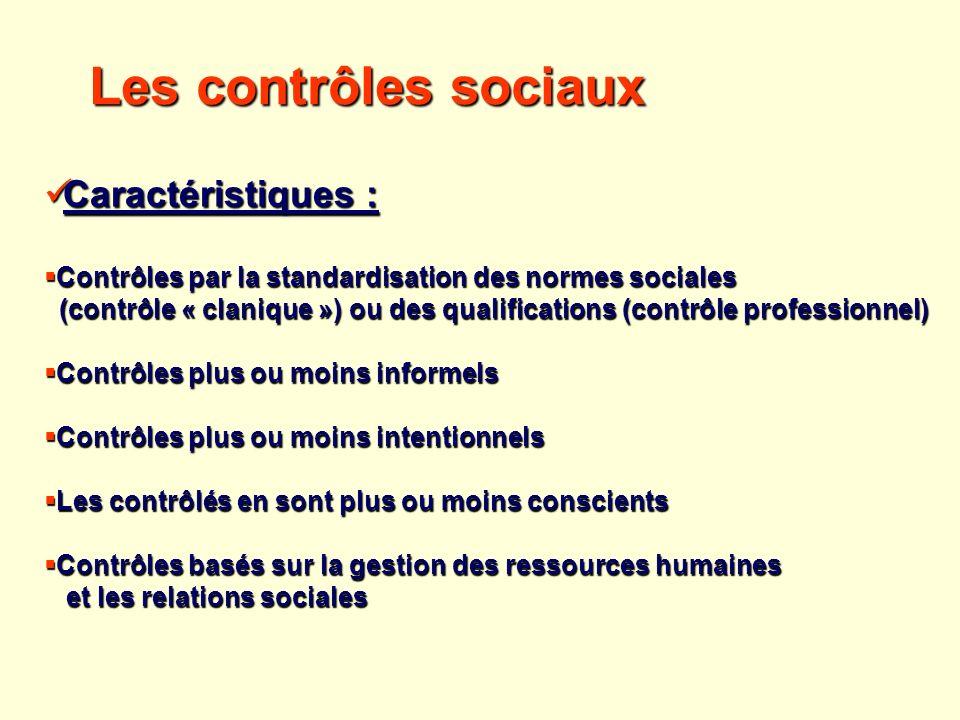 Les contrôles sociaux Caractéristiques : Caractéristiques : Contrôles par la standardisation des normes sociales Contrôles par la standardisation des