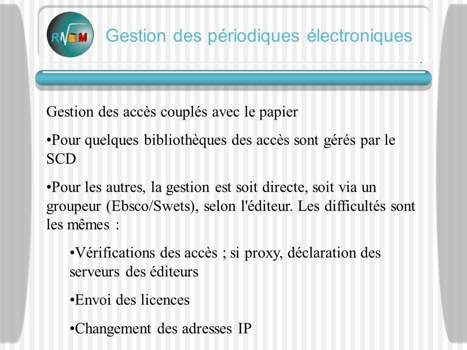Gestion des accès couplés avec le papier Pour quelques bibliothèques des accès sont gérés par le SCD Pour les autres, la gestion est soit directe, soit via un groupeur (Ebsco/Swets), selon l éditeur.