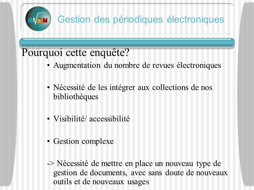 Gestion des périodiques électroniques Les informations supplémentaires nécessaires par rapport à un périodique papier