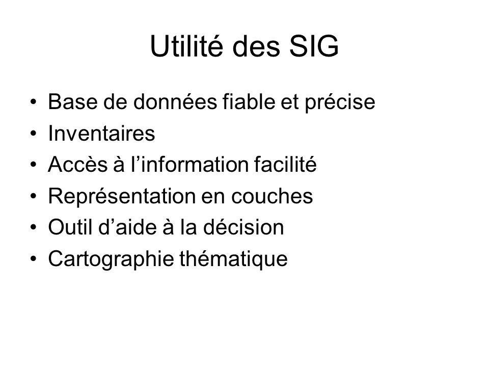 Utilité des SIG Base de données fiable et précise Inventaires Accès à linformation facilité Représentation en couches Outil daide à la décision Cartog
