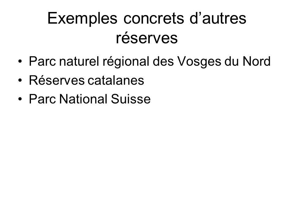 Exemples concrets dautres réserves Parc naturel régional des Vosges du Nord Réserves catalanes Parc National Suisse