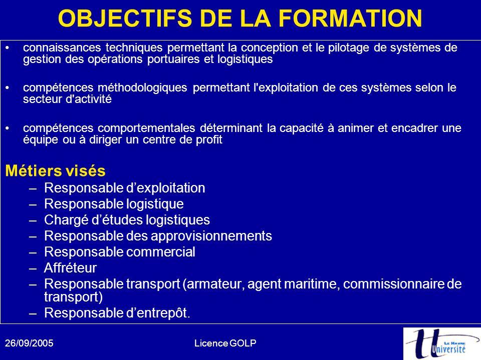 26/09/2005Licence GOLP OBJECTIFS DE LA FORMATION connaissances techniques permettant la conception et le pilotage de systèmes de gestion des opération