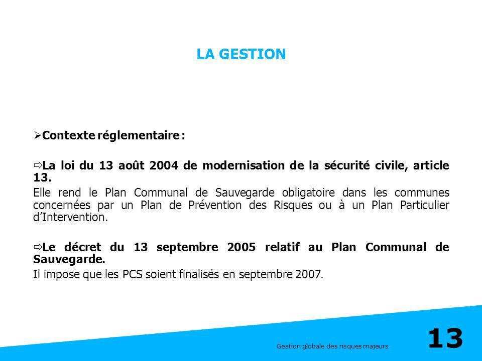 Gestion globale des risques majeurs 13 LA GESTION Contexte réglementaire : La loi du 13 août 2004 de modernisation de la sécurité civile, article 13.