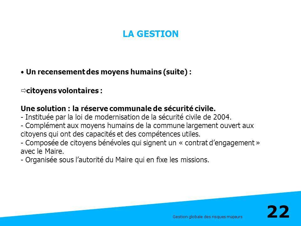 Gestion globale des risques majeurs 22 LA GESTION Un recensement des moyens humains (suite) : citoyens volontaires : Une solution : la réserve communa