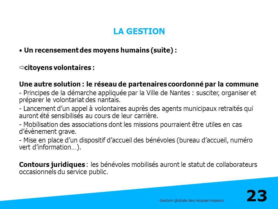 Gestion globale des risques majeurs 23 LA GESTION Un recensement des moyens humains (suite) : citoyens volontaires : Une autre solution : le réseau de