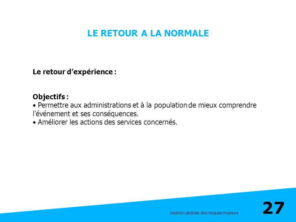 Gestion globale des risques majeurs 27 LE RETOUR A LA NORMALE Le retour dexpérience : Objectifs : Permettre aux administrations et à la population de