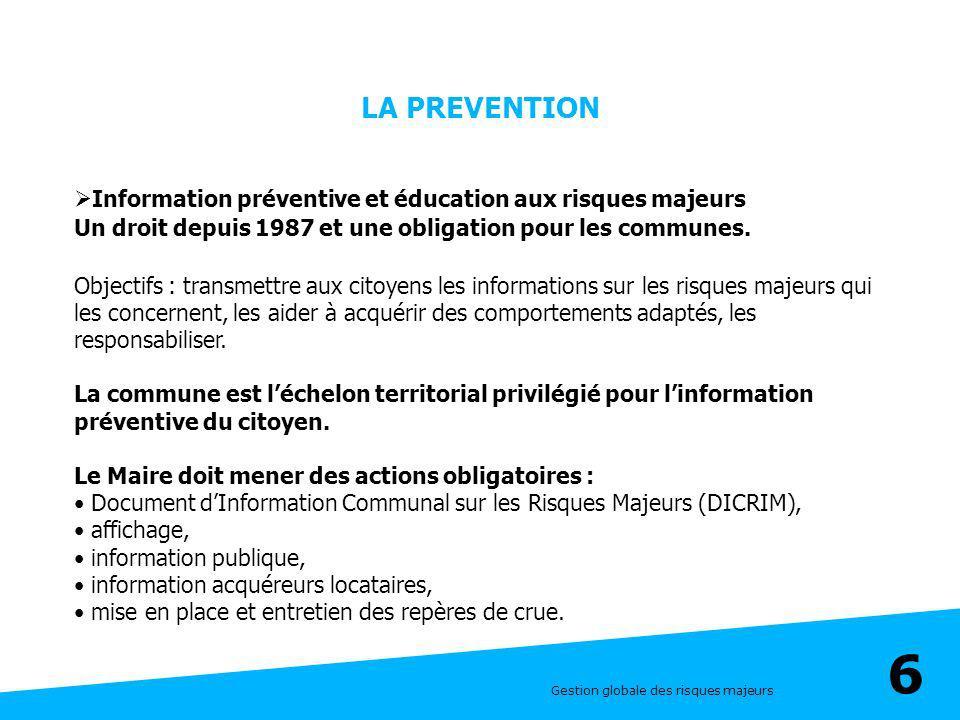 Gestion globale des risques majeurs 6 LA PREVENTION Information préventive et éducation aux risques majeurs Un droit depuis 1987 et une obligation pou