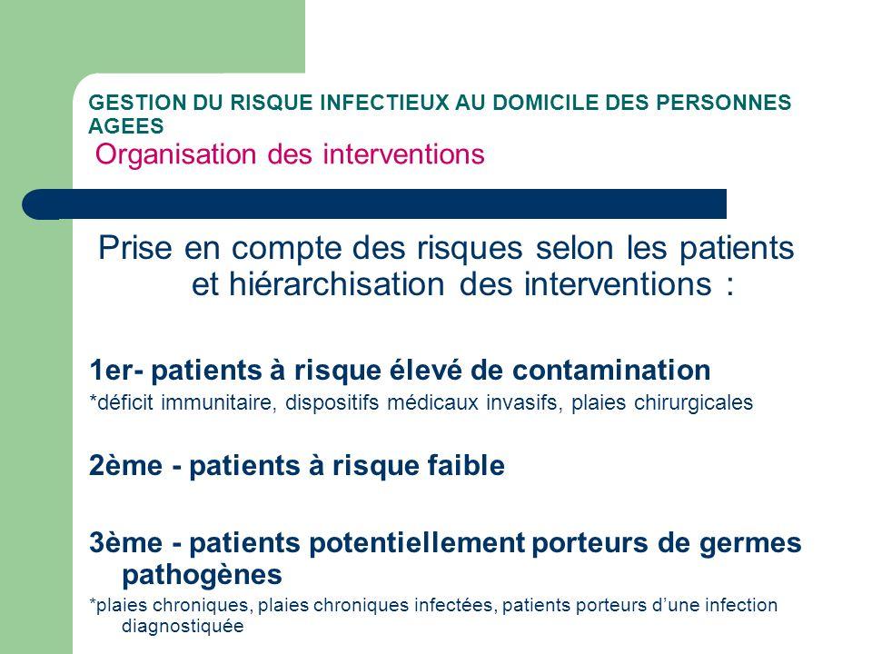 GESTION DU RISQUE INFECTIEUX AU DOMICILE DES PERSONNES AGEES Organisation des interventions Prise en compte des risques selon les patients et hiérarch