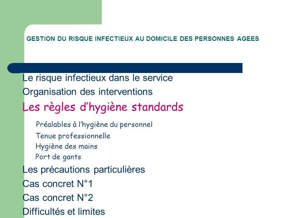 GESTION DU RISQUE INFECTIEUX AU DOMICILE DES PERSONNES AGEES Le risque infectieux dans le service Organisation des interventions Les règles dhygiène s