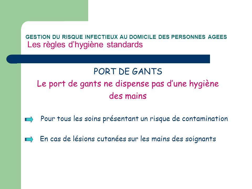 GESTION DU RISQUE INFECTIEUX AU DOMICILE DES PERSONNES AGEES Les règles dhygiène standards PORT DE GANTS Le port de gants ne dispense pas dune hygiène