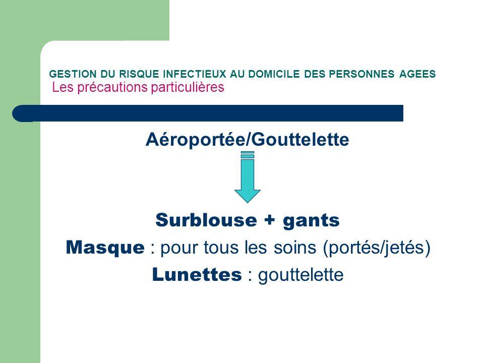 GESTION DU RISQUE INFECTIEUX AU DOMICILE DES PERSONNES AGEES Les précautions particulières Aéroportée/Gouttelette Surblouse + gants Masque : pour tous