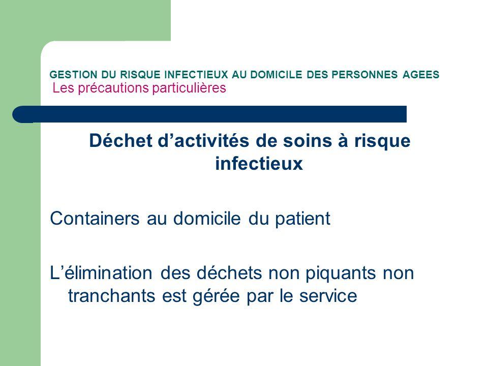 GESTION DU RISQUE INFECTIEUX AU DOMICILE DES PERSONNES AGEES Les précautions particulières Déchet dactivités de soins à risque infectieux Containers a
