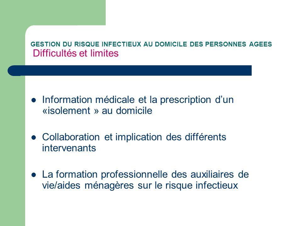 GESTION DU RISQUE INFECTIEUX AU DOMICILE DES PERSONNES AGEES Difficultés et limites Information médicale et la prescription dun «isolement » au domici