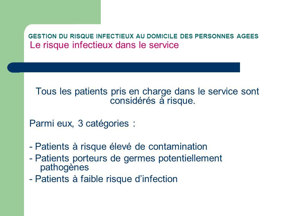 GESTION DU RISQUE INFECTIEUX AU DOMICILE DES PERSONNES AGEES Le risque infectieux dans le service Tous les patients pris en charge dans le service sont considérés à risque.